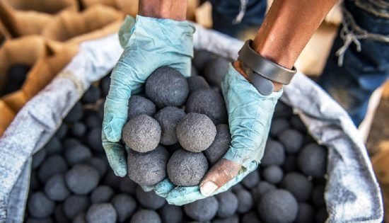 Factory production of charcoal briquette substitute