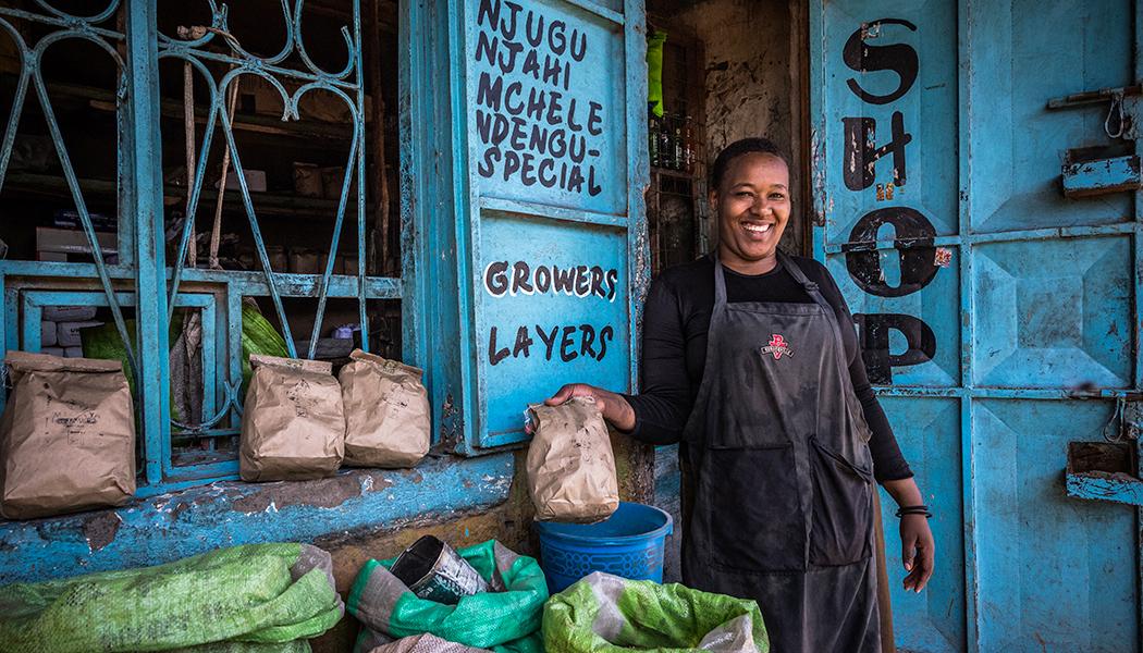 Retailer in Kenya selling charcoal briquette substitute