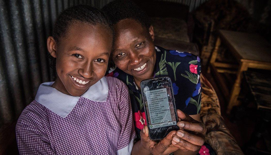 Imelda-Mumbi-and-her-mother-jane-with-Eneza's-educational-technology