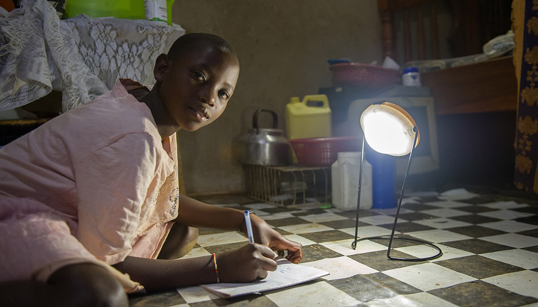 World Social Justice can only be achieved through innovative solutions like our BrightLife program, which provided the lamp this child is using