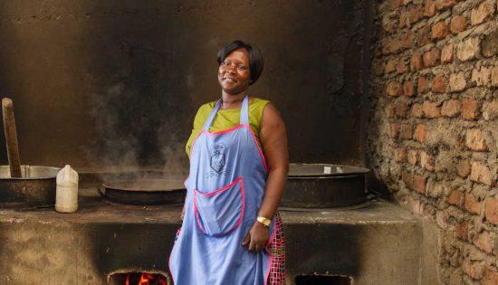 Betty Nakintu in the kitchen at her school.